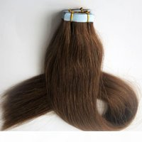 100G 40 pcs cola fita extensões de cabelo brasileiro remy cabelo humano 18 20 22 24 polegadas # 6 cabelo de trama de pele marrom médio