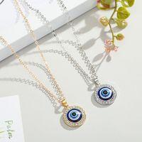 Crystal turc Evil Yeux Pendentif Collier pour bijoux pour femmes Colliers de chaines de couleur de couleur or