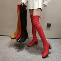 Boots Spring Autumn Women Thigh High Elastic Fashion Slim 8CM Square Heel Ladies Over The Knee Black Red