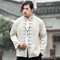 Ethnic Clothing Men Zen Tea Hanfu Coat Cardigan Copper Coin Buckle Casual Blouse Chinese Style Linen Tops Shirt Tang Suit Jackets
