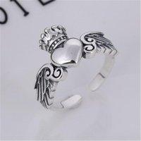 Anneaux de mariage Irish Claddagh Open Bague 925 Silver Pour Femmes Promise Heart Couronne Irlande Style Classic Design Bijoux romantiques