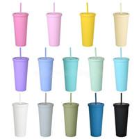 22 узной тонкие тумблеры матовый цветной акриловый тумблер с крышками и соломинкой двойной стены пластиковых сбалансированной чашки FY4489
