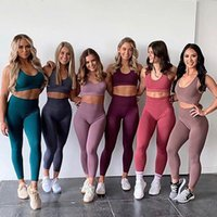 Sólido sin costura HIP HIP YOGA Trajes de moda Traje de moda Sports Fitness Trajes Chalecos Sujetadores Pantalones Sets para mujeres 2021 Correr Set Sexy Leggings