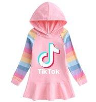 5 Colors Tiktok Girl Dress Long Tshirts Hooded Hoodies TikTok Long Sleeve Cartoon Rainbow Dresses Princess Skirts Baby Girls Clothes G7203VG