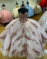 vestidos de xv años Rose Gold Sequins Quinceanera Dresses Sweetheart Corset lace-up back Sequined Ball Gown Sweet 16 Dress