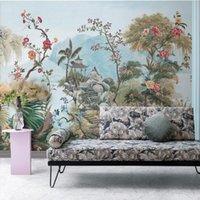Tapeten Südostasien Schwarz-Weiß-Tropical Rainforest Tiere Pflanzen Tapeten Wohnzimmer Esszimmer Schlafzimmer Wandbild