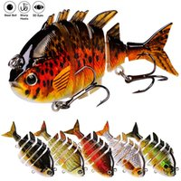 7PC SwimBait 6 Sections Fishing Lures 13.67g-0.48oz 10cm--3.93INCH 3D Lifelike Fish Eyes Joint Wobblers With 8# high carbon hook Bass Tackle 7 Colors Baits