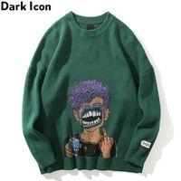 El icono oscuro imprimió el suéter de los hombres rasgado el cuello redondo suéteres de gran tamaño para los hombres Streetwear Clobing CJ191130