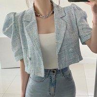 Women's Jackets Korea Chic Retro Summer Short Sleeve Lapel Tweed Jacket Straight Puff Cardigan Coat Crop Tops Fashion Sexy Wild