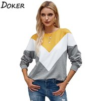 Women's Hoodies & Sweatshirts 2021 Autumn Winter Patchwork Pullover For Women Long Sleeve Fashion Loose Tops Streetwear Vintage Sweatshirt