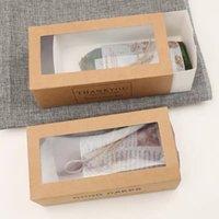 50 قطعة / الوحدة شكرا لك هدية صناديق كرافت ورقة بيضاء درج شكل كعكة ورقة مربع مع نافذة واضحة عرض التعبئة والتغليف للمخابز 204 S2