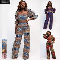 Pantalones de dos piezas de las mujeres conjuntos de pantalones impresos isarosa DIY con estilo africano Tops recortados Tops de pierna ancha Mangas de soplo grande Talla grande Tamaño Clo