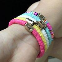 5 unids / set bohemian colorido arcilla pulseras para las mujeres verano playa encanto elástico suave pulsera boyo joyería