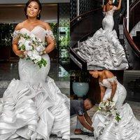 Luxury Ruffles Mermaid Wedding Dresses Bridal Gowns Off The Shoulder Beaded Lace Gorgeous Nigerian Arabic Marriage Robe De Mariee