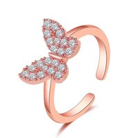 Women Full Diamond Butterfly Open Ring European Rose Gold Copper Animal Finger Rings Party Gift Anniversary Hand Jewelry Accessories