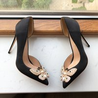 Fashion Women Shoe Butterfly Knot Woman Silk Satin Cut-outs D'Orsay High Heels Black Pointed Toe Party Shoes Ladies Slip On Dress Pumps 8 10 12cm