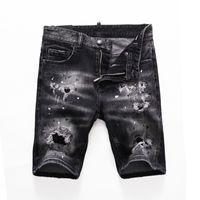 نحيل جينز مصمم السراويل الرجال مصمم الدنيم السراويل الأزياء الصيف سستة هول قصيرة رجل سليم السراويل الهيب هوب رجل جينز قصير الأزرق