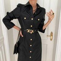 [EWQ] 2021 Kış Kadın Yeni Gevşek Casual Turn Aşağı Yaka Katı Renk Uzun Kollu Minimalist Lace Up Pu Deri Elbise 8Q398