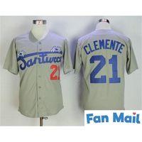Gri Roberto Clemente Jersey # 21 Santurce Crabbers Porto Riko Beyzbol Forması Beyzbollar Dikişli Düğme Aşağı Gömlek Ücretsiz Kargo
