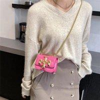 Designer kids square handbag girls metal chain one-shoulder bags child PU leather messenger bag lady women mini handbags A7887