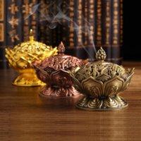 Home Lotus Blume Weihrauch Brenner Buddhismus Buddha Halter Messing Mini Sandelholz Censer Metall Handwerk Dekoration