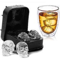 Hohlraumschädelkopf 3D Mold Skeleton Schädel Form Wein Cocktail Eis Silikon Würfel Tablett Bar Zubehör Süßigkeiten Mold Weinkühler WLL62