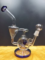 Heady Glass Bong Recycler Bong Unique Blue Sidecar Hookahs Water Pipes Showerhead Perc Percolator Oil Dab Rigs 14.4mm Joint dhping