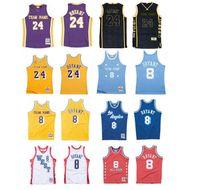Benutzerdefinierte S-6XL Männer Frauen Jugend genäht Basketball-Trikots 8 Bryant Jersey Finals Mitchellness 1996-97 2009-10 Gelbe lila Hardwoods Klassiker Retro Wear