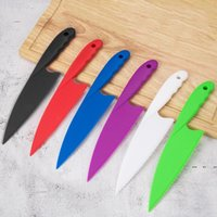 سكين المطبخ للأطفال saftey سكين الخس سلطة سكين المسننة البلاستيك القاطع القطاعة كعكة الخبز كعكة أدوات 6 ألوان FWB5285