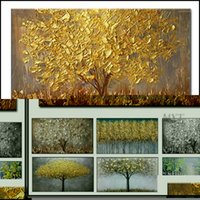 Garden All Categories Arts, Crafts Gifts & Garden Handmade Large Modern Canvas Oil Painting Knife Golden Tree Paintings For Home Living Room