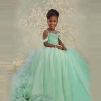Girl's Dresses Lovely Tulle Kids Pageant For Po Shoot Cap Sleeves Pearls Beaded With Extra Puffy Long Train Flower Girls Dress
