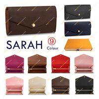 Mesdames Mode Casual Designer Haute Qualité Top Sarah Porte-clés Pochette M60531 N60114 M61182 Cuir enveloppe Portefeuille Porte-cartes de crédit 9 Couleurs 2 Style avec boîte