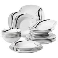 Veweet Fiona de 24 piezas Cerámica de cerámica Cerámica Cerámica Combi-Set de porcelana Conjunto de vajillas de porcelana de placas / placas de postre / placas de sopa / platos para la cena