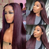 Ombre Burgundy 360Lace Front Wig Straight Human Hair Wigss Brazilian Remy Hairs Pre Plucked Ombres T1B 99J Straights 13x4 Lace Wigs