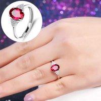 Elipse ruby anillo 4 garras amatista anillos ajustables colorido joyería regalo boda mujeres 3 7SL Q2