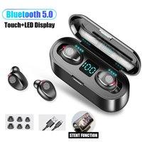 Fone de ouvido sem fio Bluetooth V5.0 F9 Wireless Bluetooth Fone de ouvido LED Display com fone de ouvido de banco de energia de 2000mAh com microfão