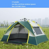 Tents And Shelters 3-4 People Outdoor Automatic Quick Open 190T Silver Coated Cloth Beach Camping Folding Tent One Door Three Windows