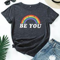 Women's T-Shirt Be You T Shirt Women Cotton Plus Size Colourful Rainbow Print Retro Graphic Tshirts Short Sleeve O-neck Casual Oversized Tee