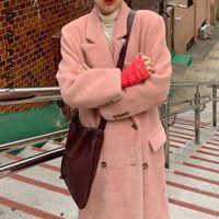Женские шерстяные смеси Шэнпал Корейский шик осень зимняя куртка сладкий костюм воротник двубортный свободные длинные толстые теплые шерстяные пальто 5A251