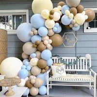 120 adet Teddy Bear Bebek Duş Balon Garland Kemer Kiti Mavi ve Kahverengi Lateks Balonlar Için OH Bebek Duş Erkek 1. Doğum Günü Dekor