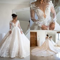 Luxury 2021 Wedding Dresses Bridal Gowns 3D Floral Lace Appliqued Beaded Long Sleeve Country Style Vestidos De Novia
