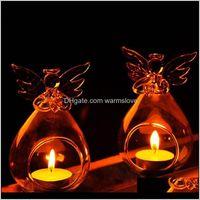 Romantischer Engel Kristallglas Kerzenhalter Hängen Tee Licht Laterne Kerzenständer Brenner Vase DIY Hochzeitsfest Dekoration Zieud Wlmxf