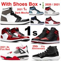 2021 novo 1 alto og escuro mocha 1s sapatos de basquete homens mulheres treinadores volt ouro 4s fogo vermelho 11s jubileu espaço jam atacado 5s 13s