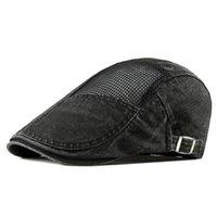 Bereliler Erkekler Mesh Visor Şapka Yaz Moda Vintage Düz Caps Rahat Pamuk Ayarlanabilir Güneş Şapka Bere Erkekler için
