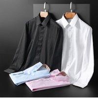 2021 Luxury designer's Business Casual Shirt, Long Sleeve, Stripe, Trim Social Men's T-shirt, Fashion Plaid #B2