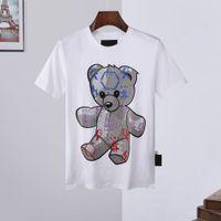 21FW Erkek Kadın Tasarımcı T Shirt Lüks Beyaz Kapalı Phillip Düz Erkekler Gömlek Hoodies Mont Bahar Kısa Kollu Kafatası Elmas Tops Çanta 16