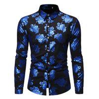 Camisas de Milding de Coloful Menores Superiores Hombres Shinny Floral Impreso con estilo Slim Slim Botón de manga larga Botón Down Party Shirt CS76