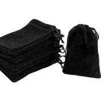 أسود يتدفقون القماش الحقائب مجوهرات / الرباط المخملية حقيبة الرباط مجوهرات حقيبة الرباط هدية حقيبة، 50 جهاز كمبيوتر شخصى، 3x4in