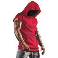 Erkekler Tasarımcı Hoodies Tankları Üst Kolsuz Kas Spor Spor Ince Yelek Vücut Geliştirme Kapşonlu Hip Hop Streetwear Egzersiz Elastik Erkek Fermuar Cep Tank Tops