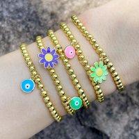 Charm Bracelets FLOLA Copper Zircon Blue Evil Eye For Women Gold Bead Chain Enamel Flower Bracelet Wholesale Jewelry Brtd54